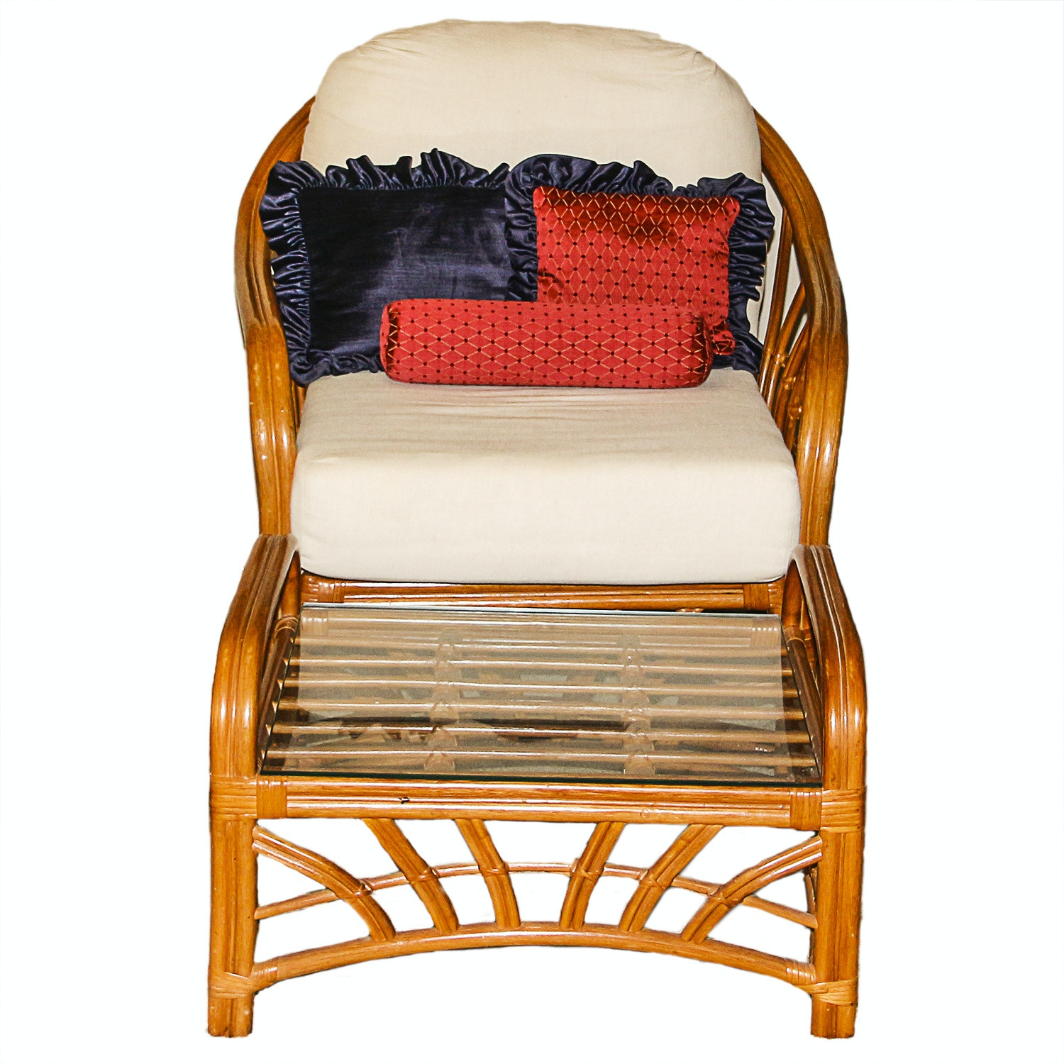 Vintage Bamboo Armchair And Matching Side Table Ebth