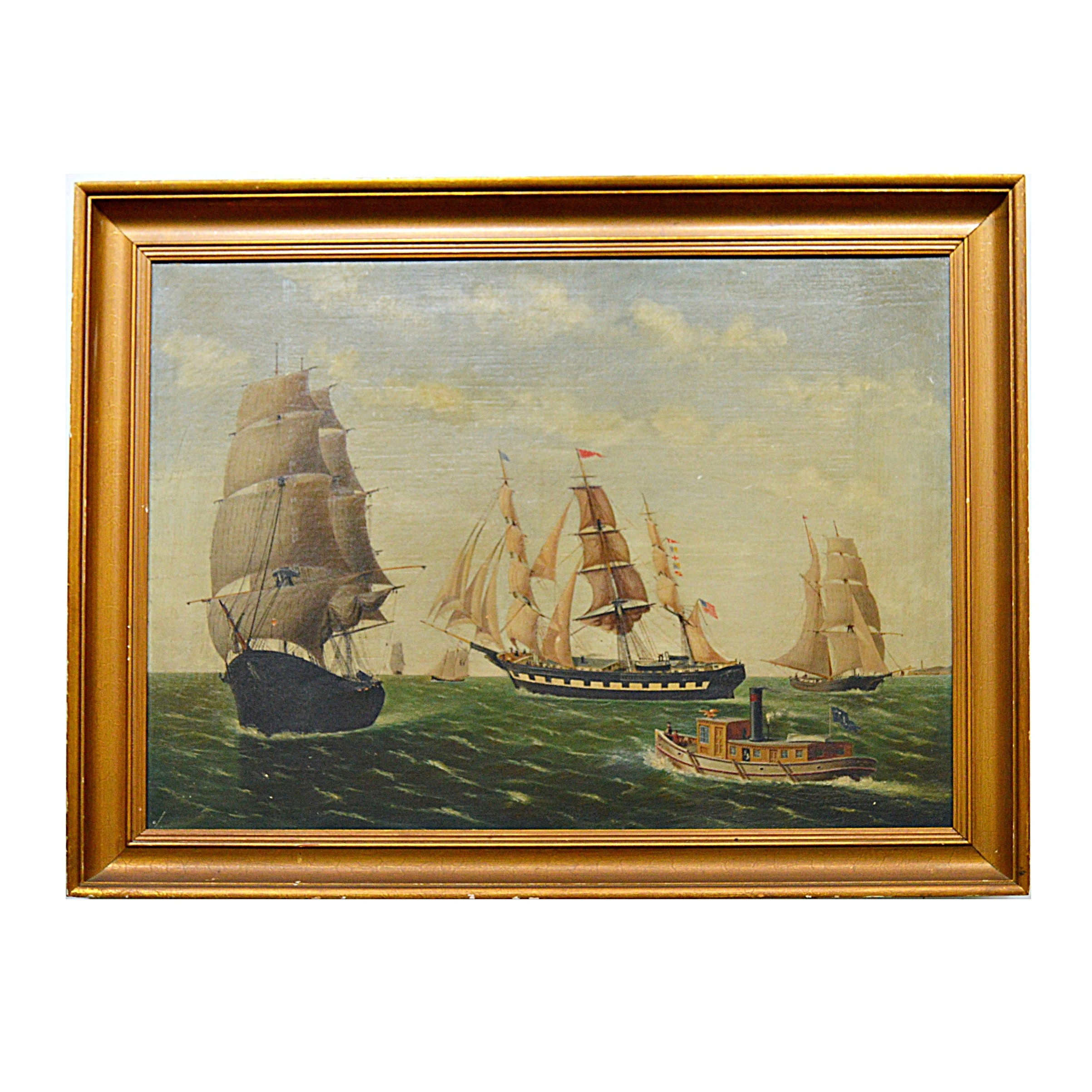 19th Century Original Maritime Oil on Canvas