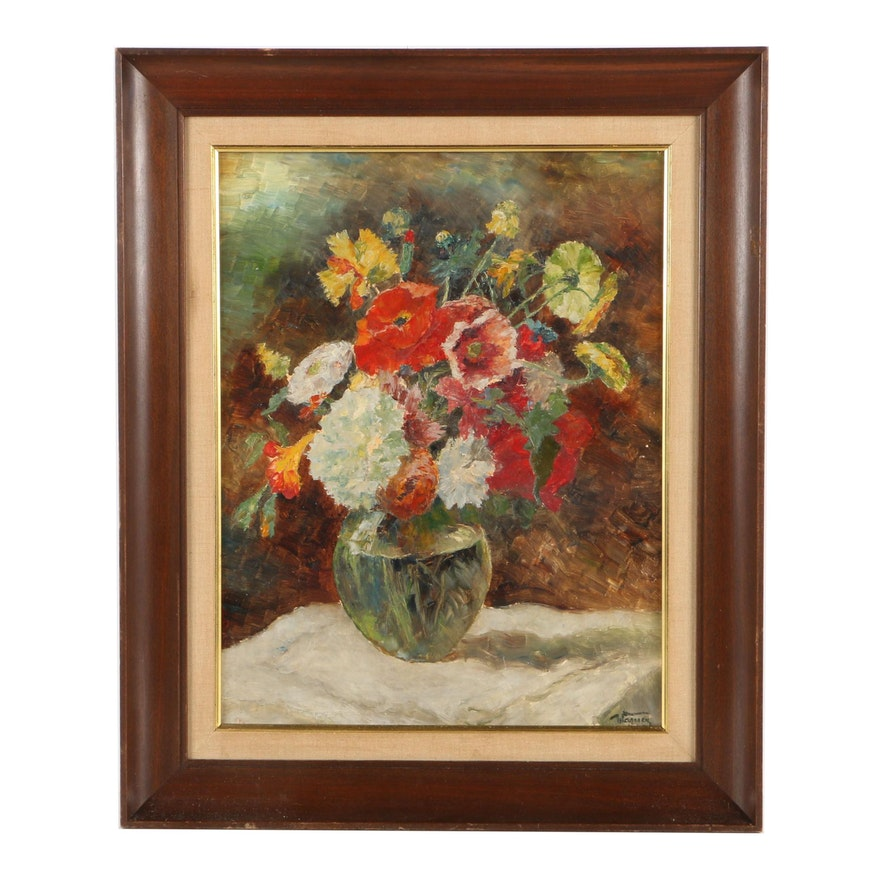 Wagner Oil Painting On Panel Of Still Life With Glass Vase Of