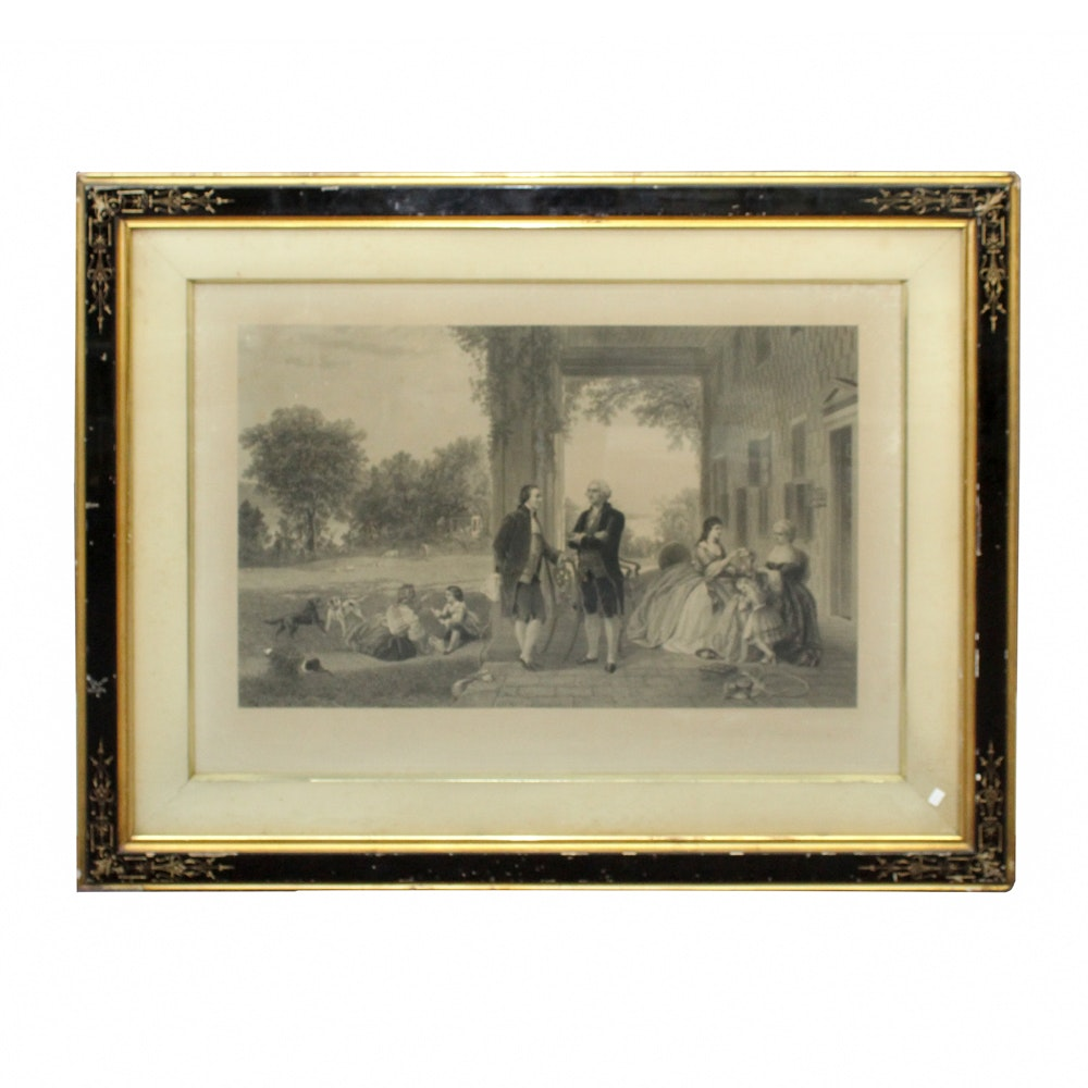 "Antique Framed ""Home of Washington"" Engraving"