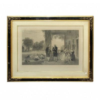 "Antique Framed ""Home of Washington"" Engraving"