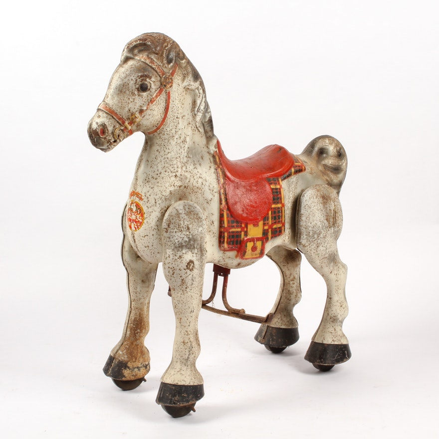 1940s Mobo Bronco Metal Ride-On Pedal Horse