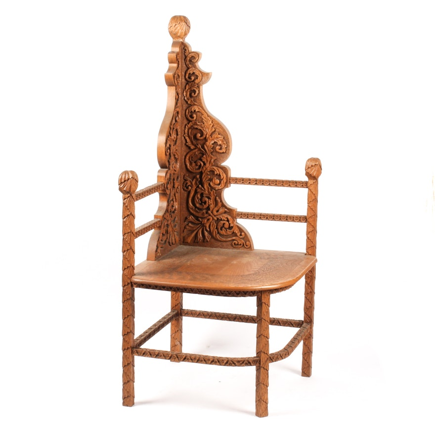 Victorian Carved Ash Corner Chair