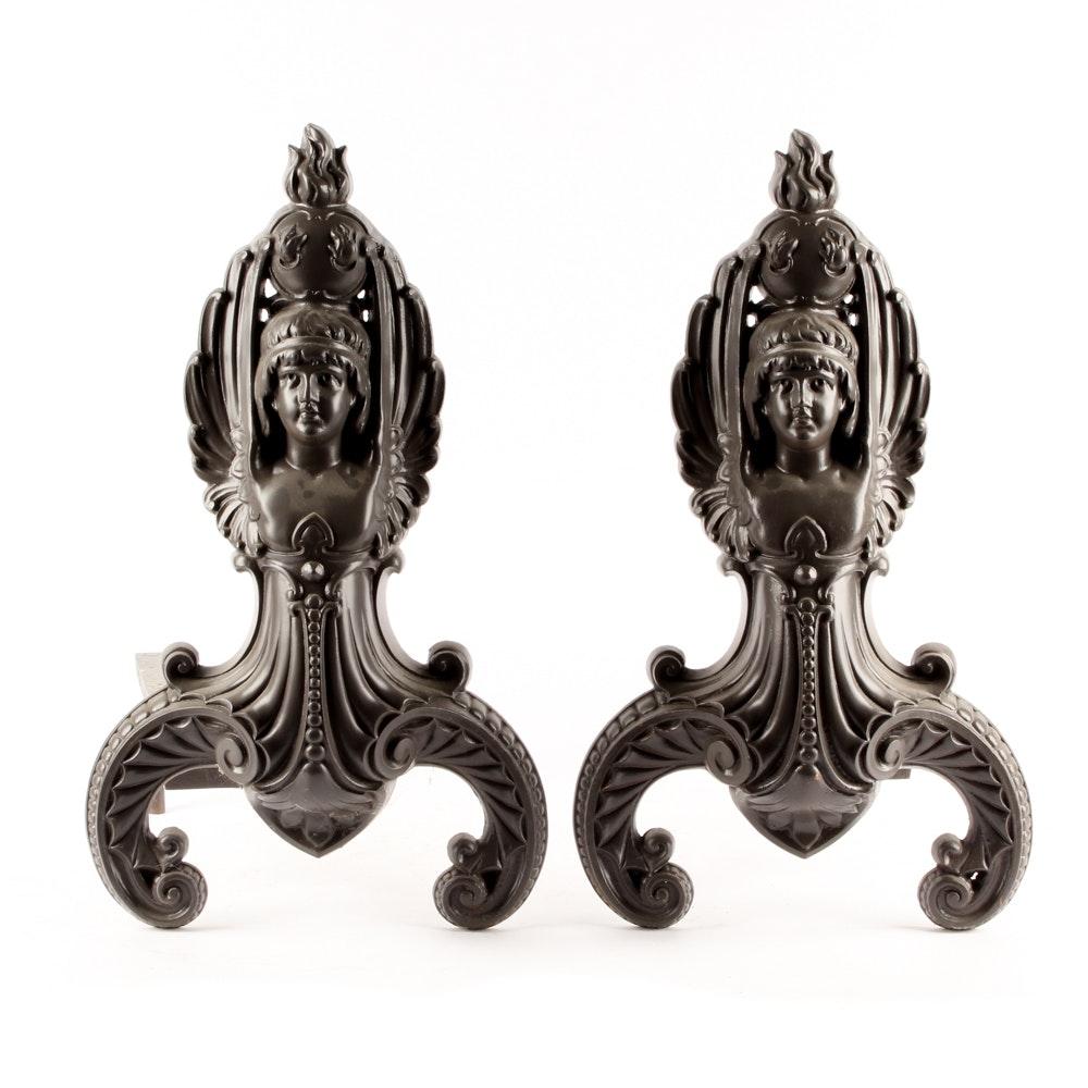 Vintage Bronze Tone Andirons