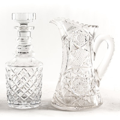 Lead Crystal Decanter and American Brilliant Period Cut Glass Pitcher