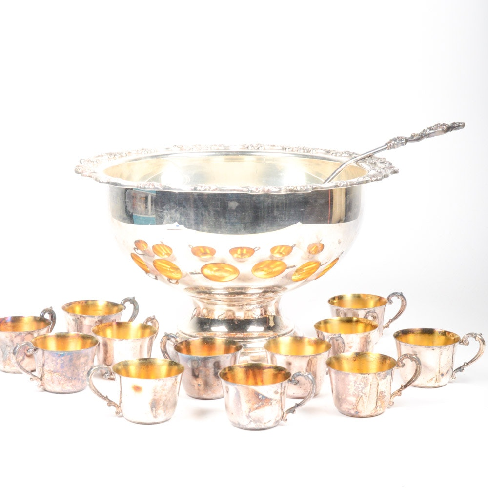 Vintage Sheridan Silver-Plated Punch Bowl Set ...  sc 1 st  EBTH.com & Vintage Sheridan Silver-Plated Punch Bowl Set