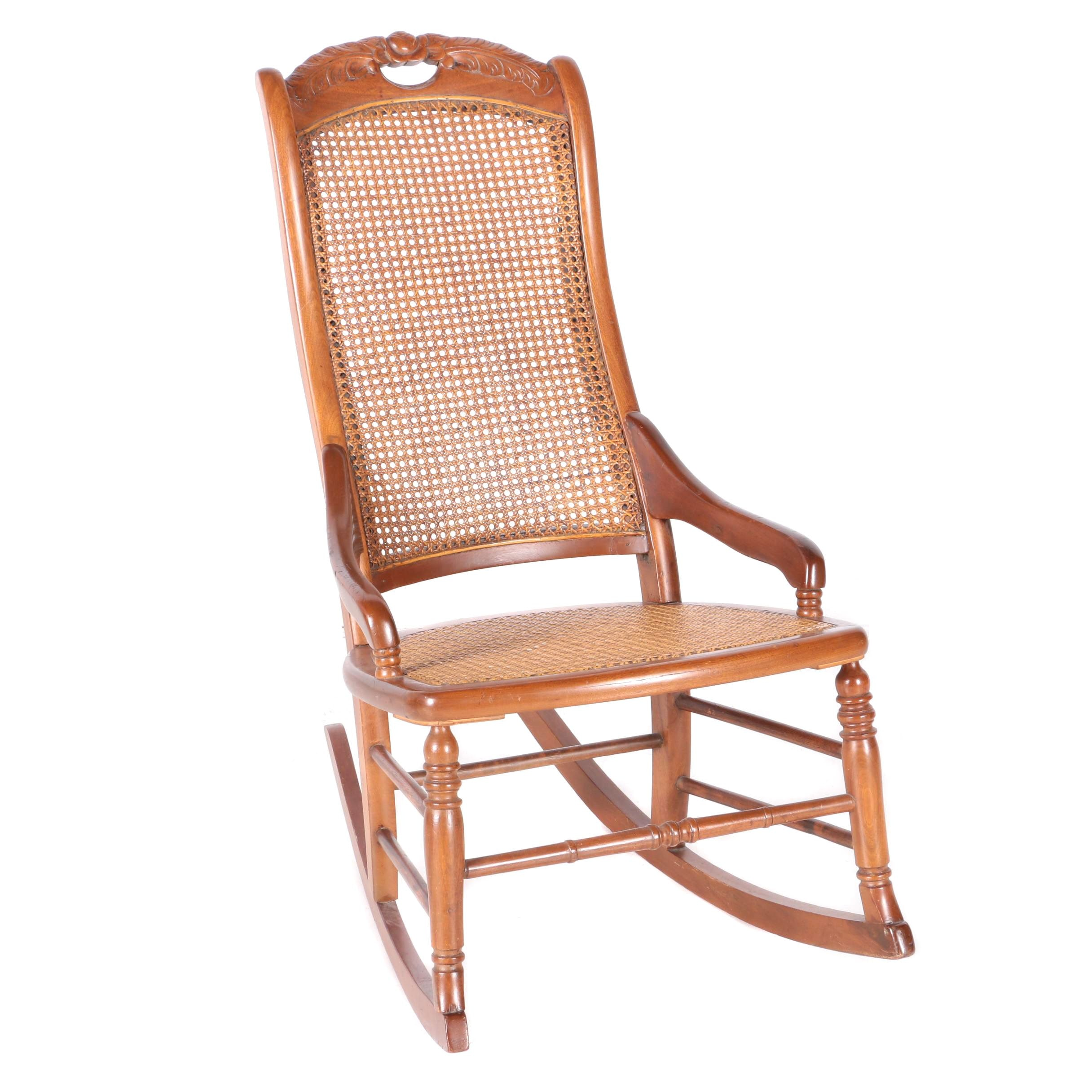 Merveilleux Vintage Oak And Cane Rocking Chair ...