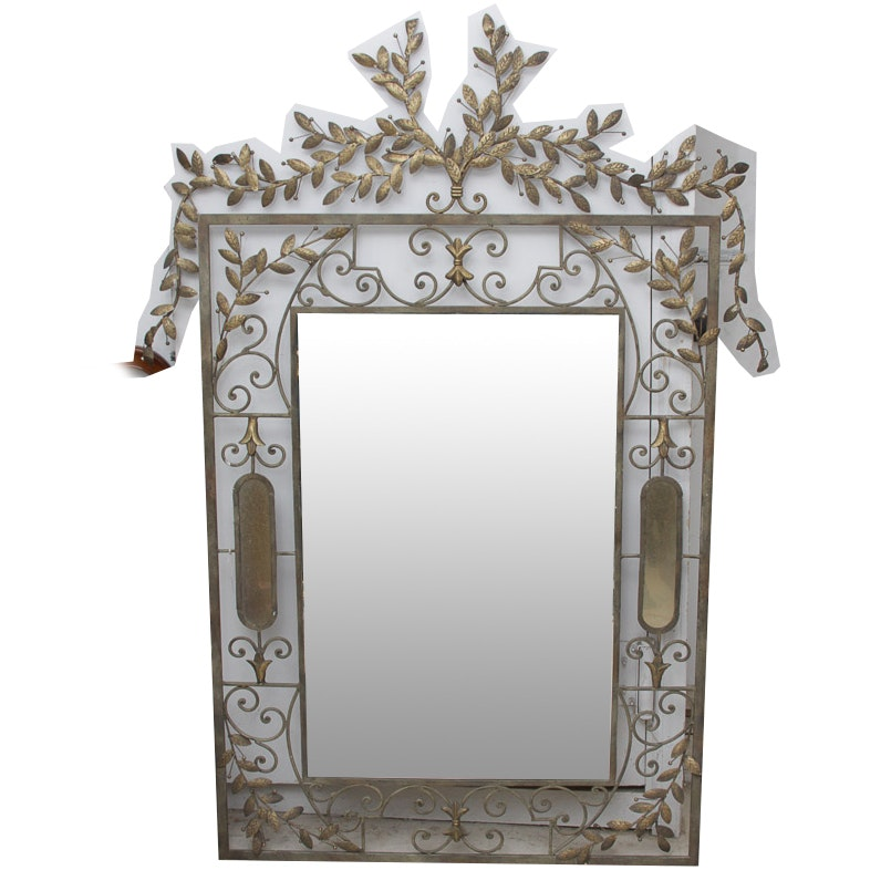 Ornate Framed Bevel Wall Mirror With Leafy Metal Accents