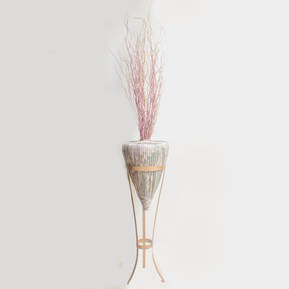 Conical Fabric Covered Vase with Artificial Foliage on a Stand