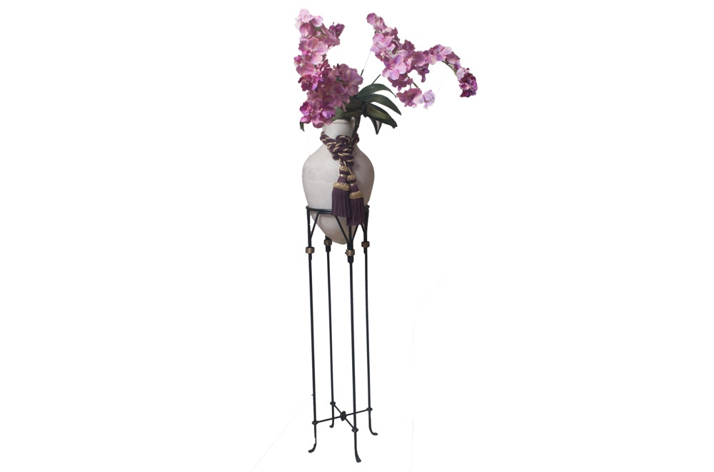 Faux Purple Orchid Plants in a Ceramic Pot on a Stand