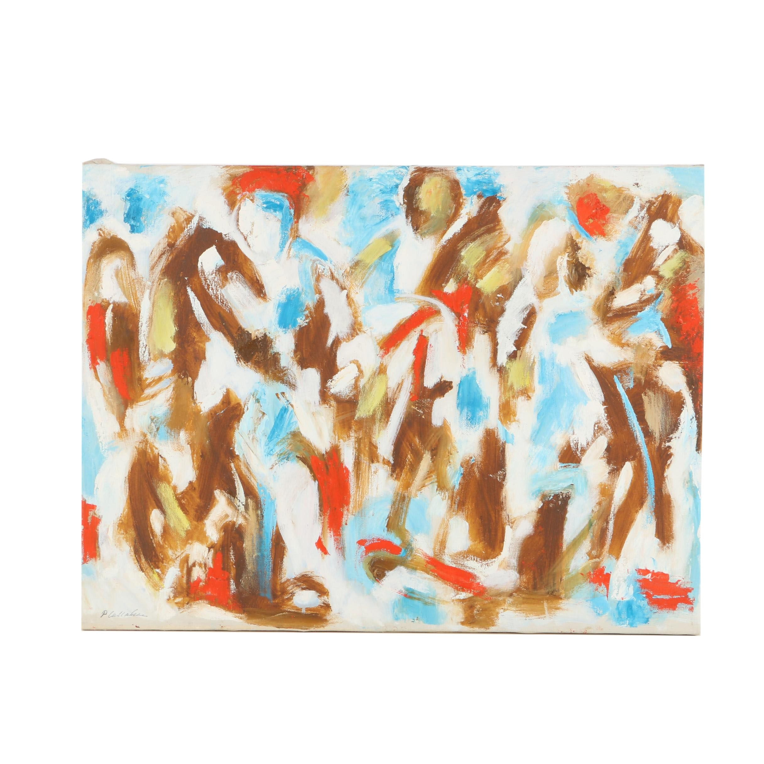 Phillip Callahan Oil Painting on Canvas of Abstract Figures