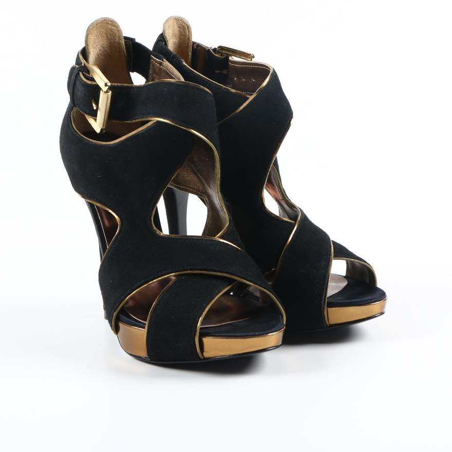b7c3ad6db1 Guess by Marciano Black and Gold Tone Platform Heels : EBTH