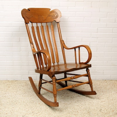 Vintage Late Victorian Style Oak Rocking Chair - Vintage Chairs, Antique Chairs And Retro Chairs Auction : EBTH