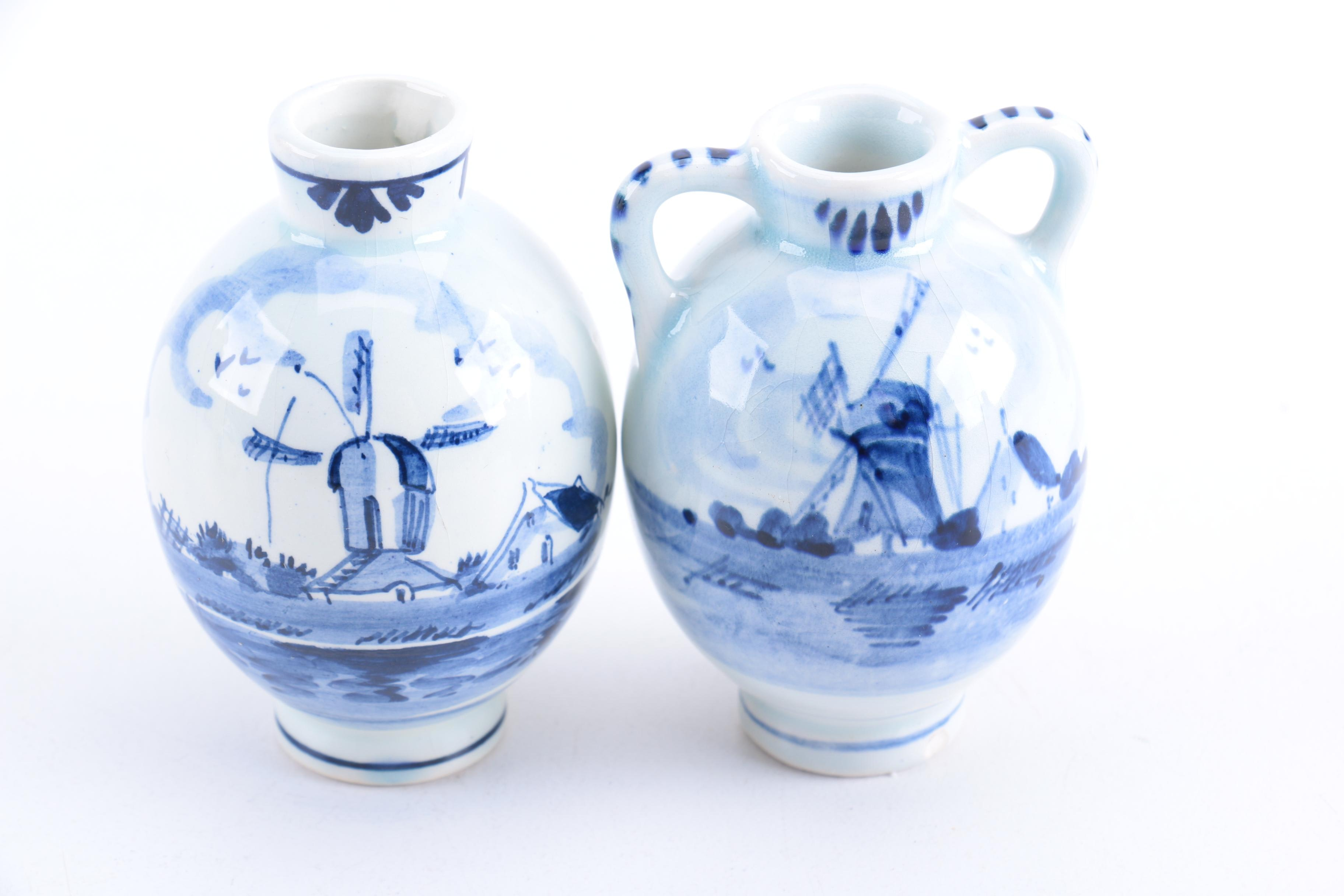 Delft Vases And Ash Receiver Ebth