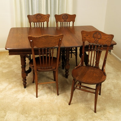 Antique Late Victorian Oak Dining Table with Press Back Chairs - Vintage Dining Furniture Auction Antique Dining Furniture For