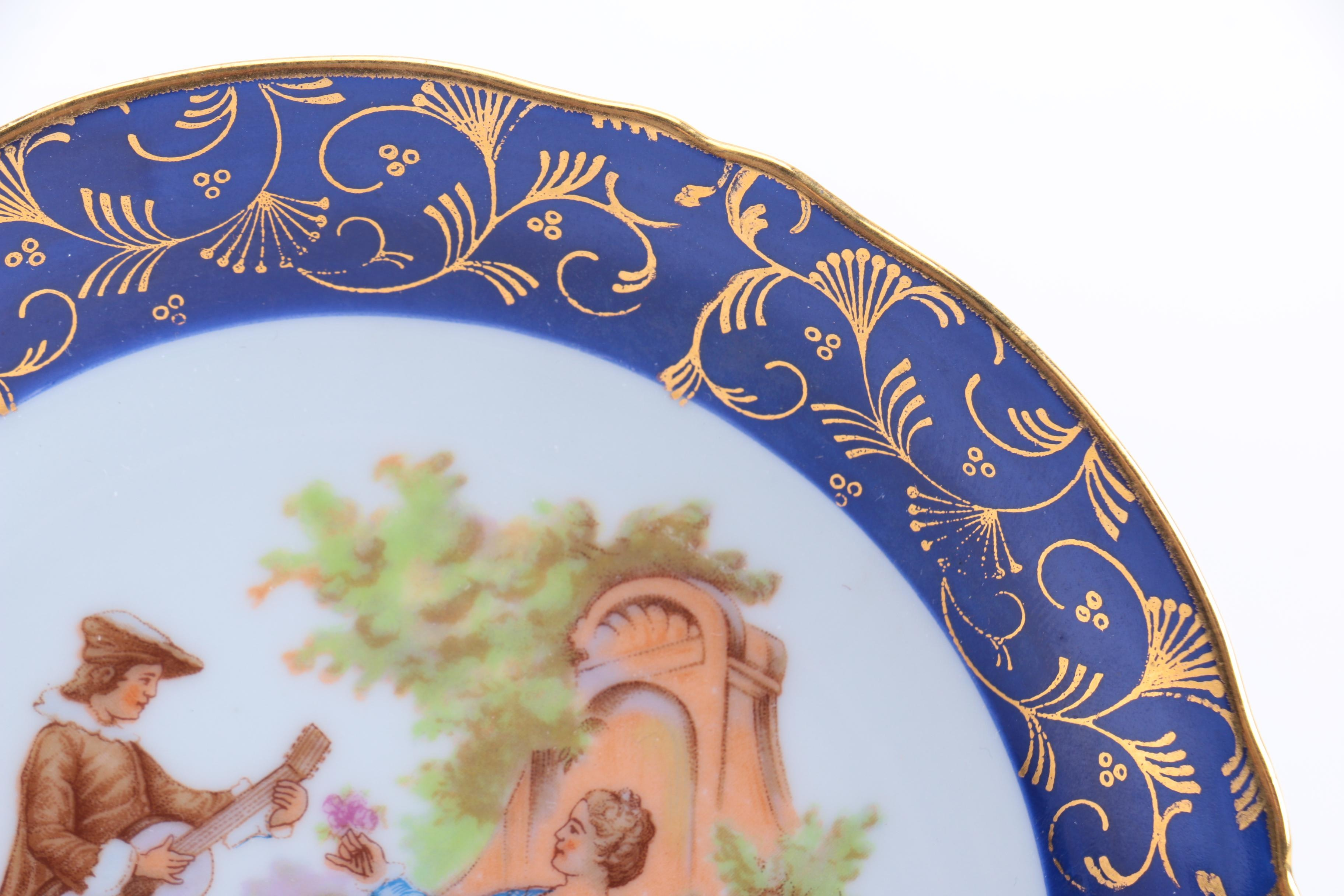Limoges Porcelain Plates With Courting Couples Ebth