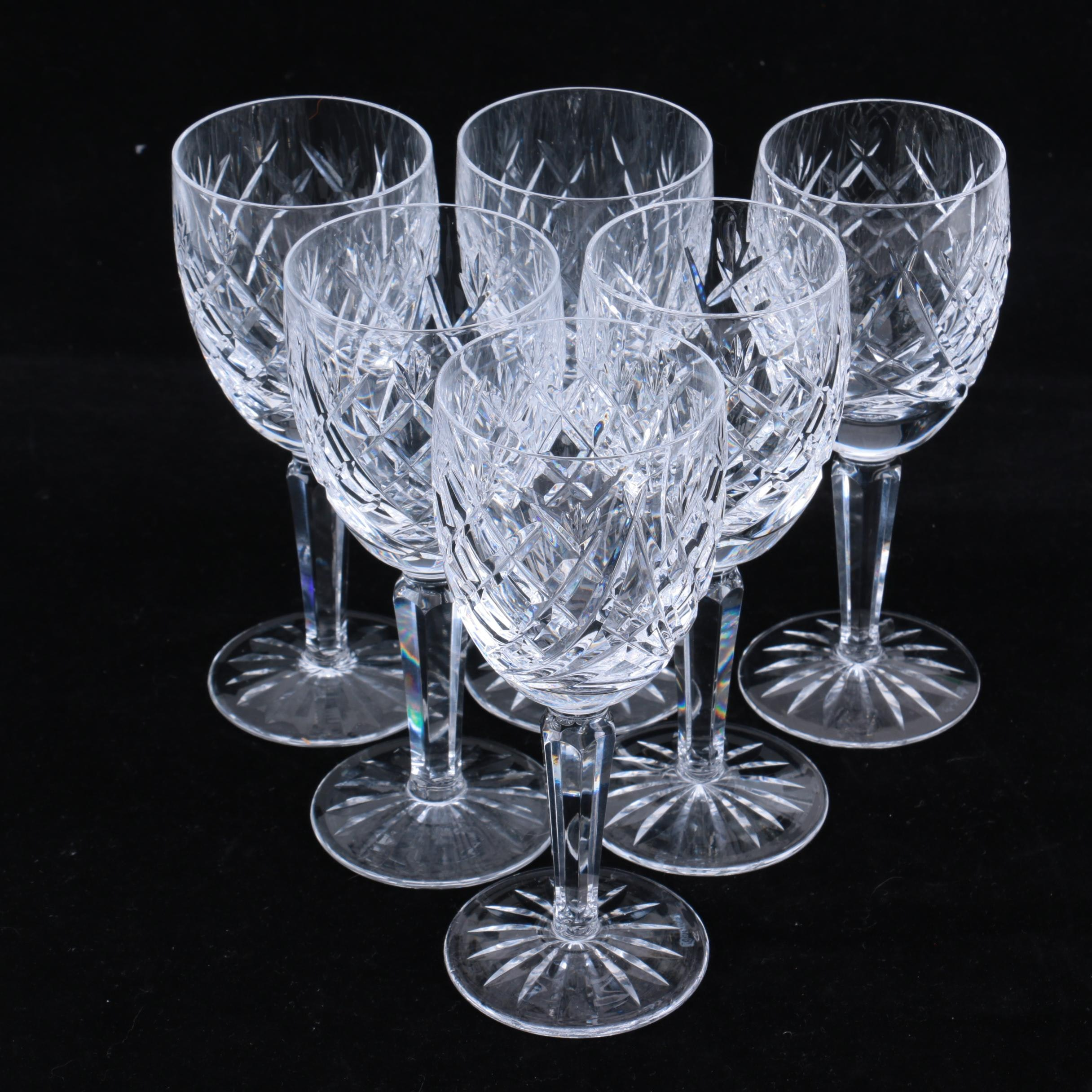 "Waterford Crystal ""Avoca"" Claret Wine Glasses"