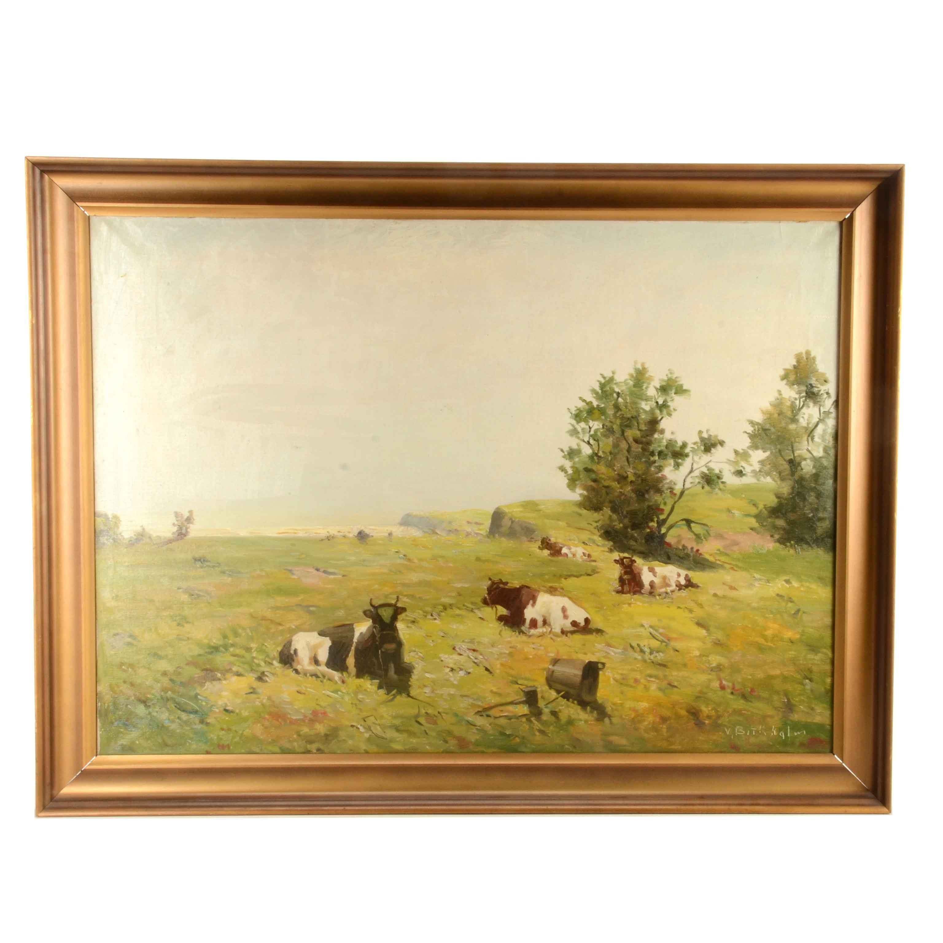 Mark Osman Curtis Oil Painting on Canvas of Cows in Pasture