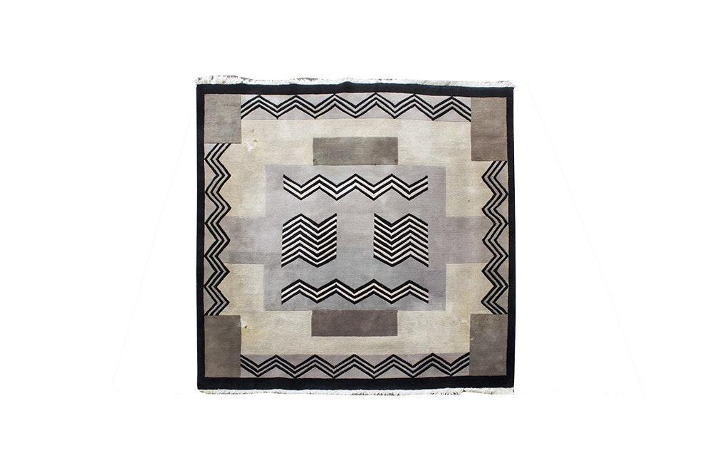 Hand-Knotted Contemporary Wool Area Rug