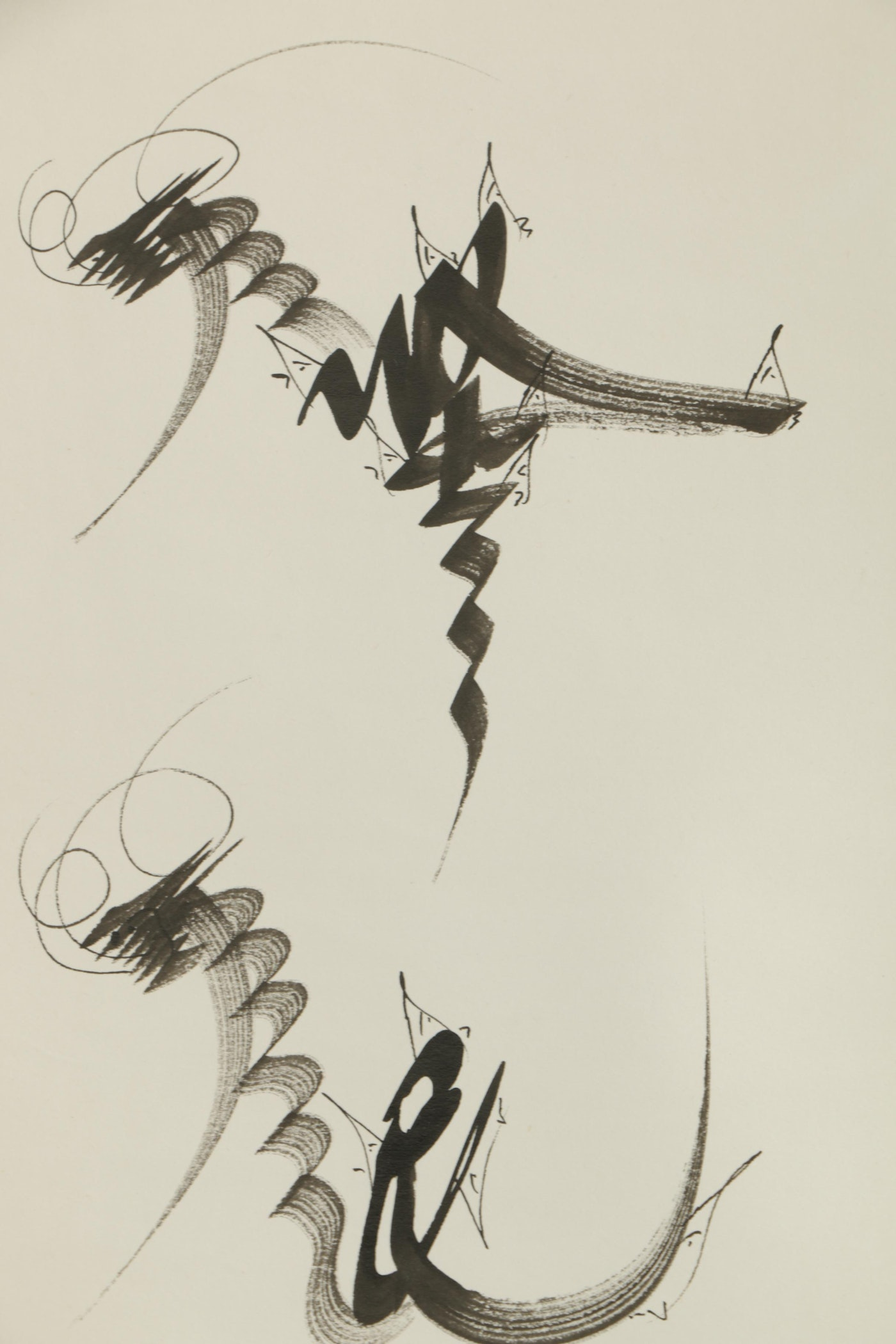 East asian style calligraphic ink painting on hanging for East asian decor
