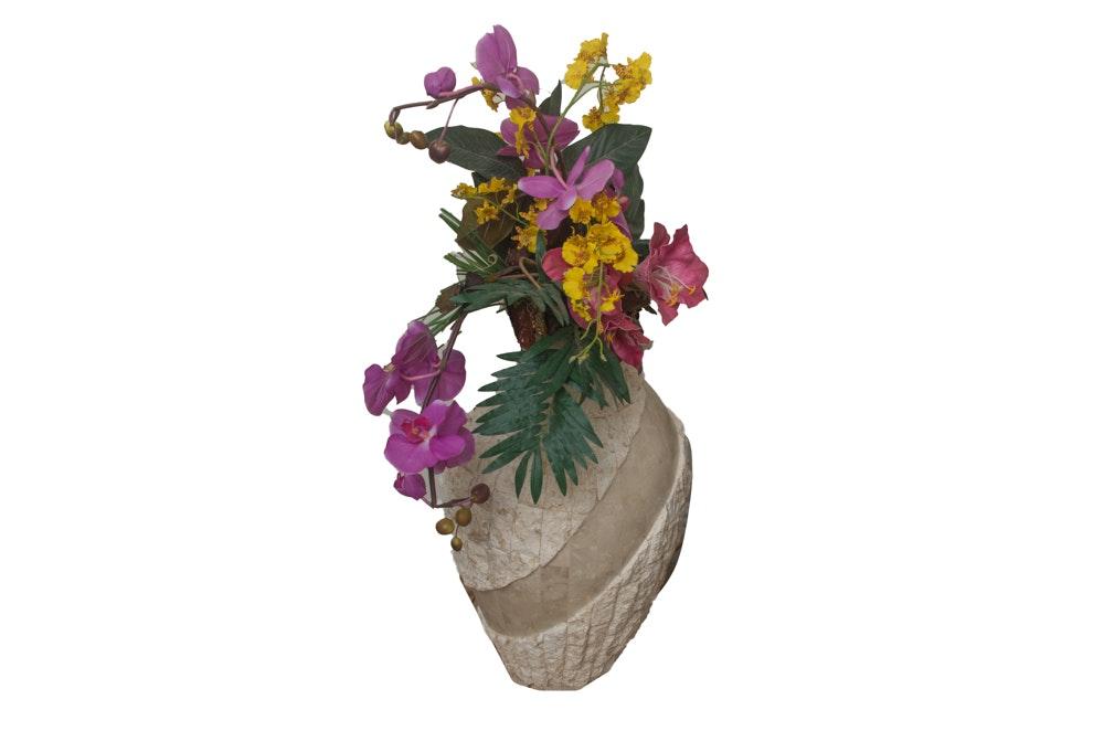 Potted Faux Orchid Floral Bouquet