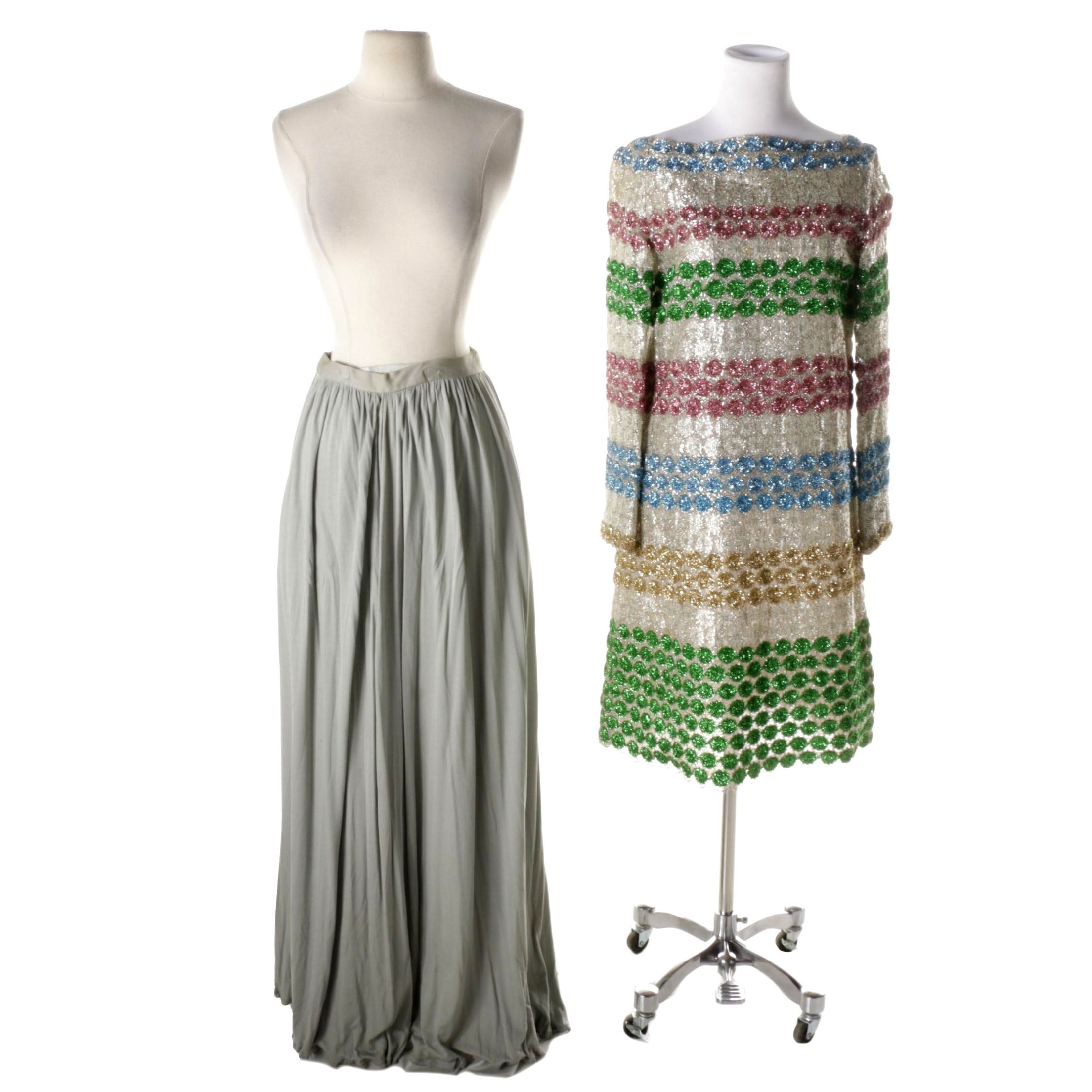 Women's Vintage Mod Cocktail Dress and Maxi Skirts