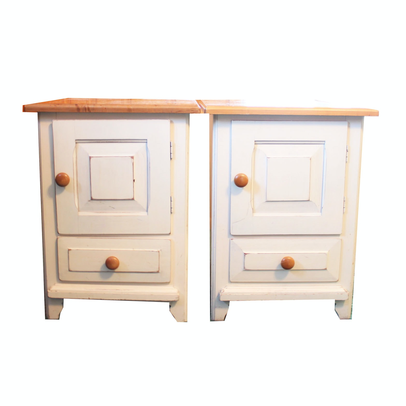 Pair of Painted Pine End Tables from Riverside