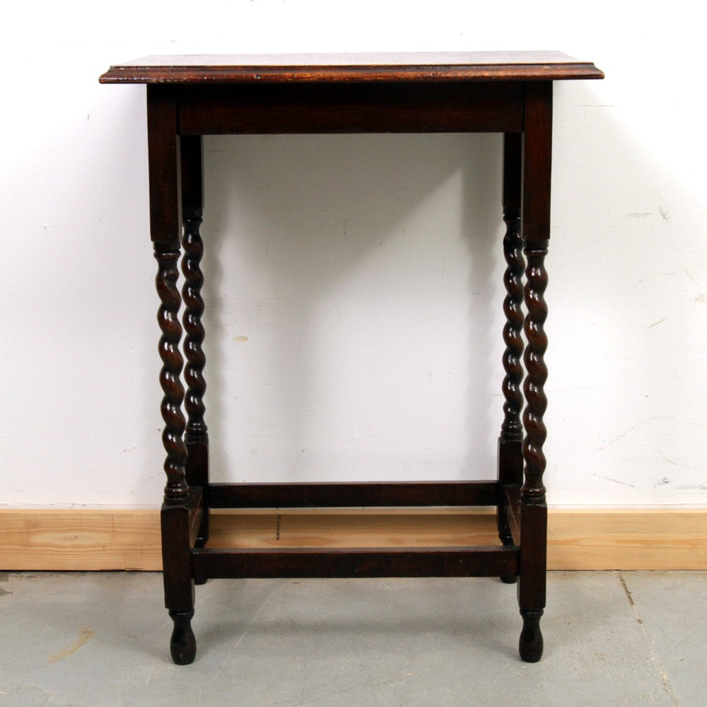 Antique William And Mary Style Oak Accent Table