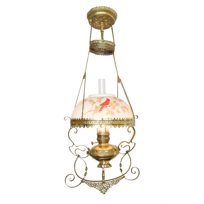 Antique Hanging Converted Oil Lamp Fixture