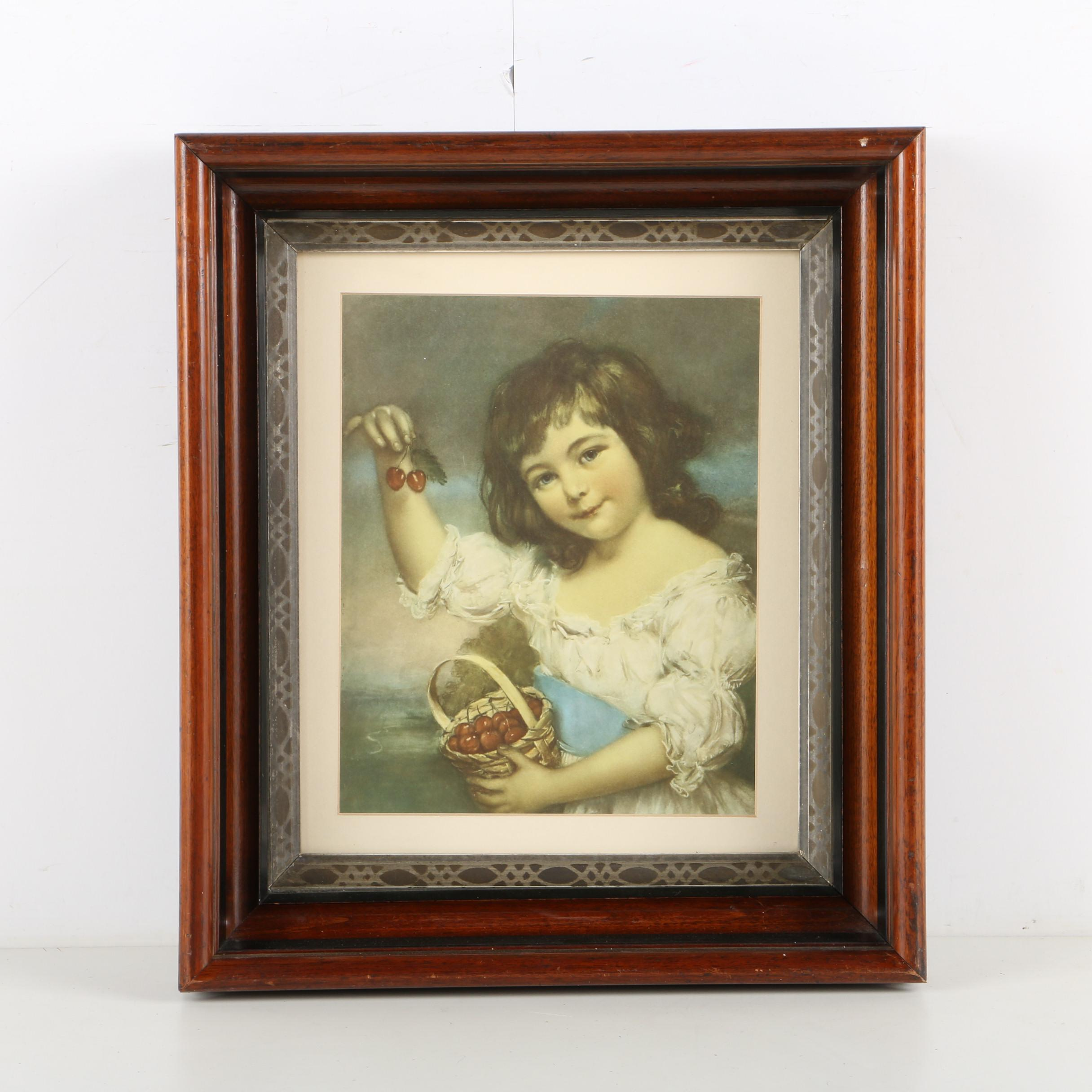 J Russell Print Little Girl with Cherries
