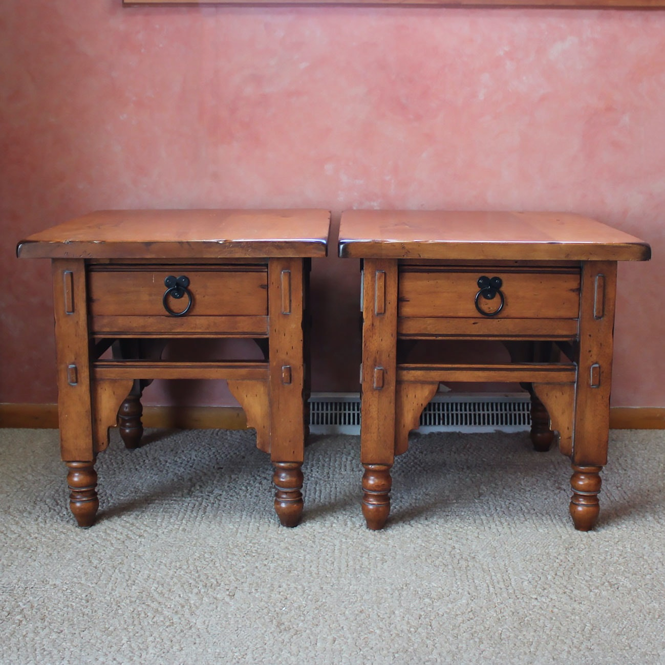 Pair of Jacobean Style End Tables