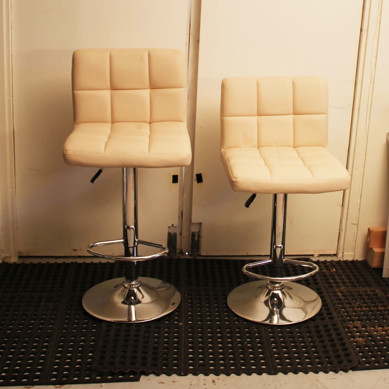 Pair of Modern Style White Leather Barstools