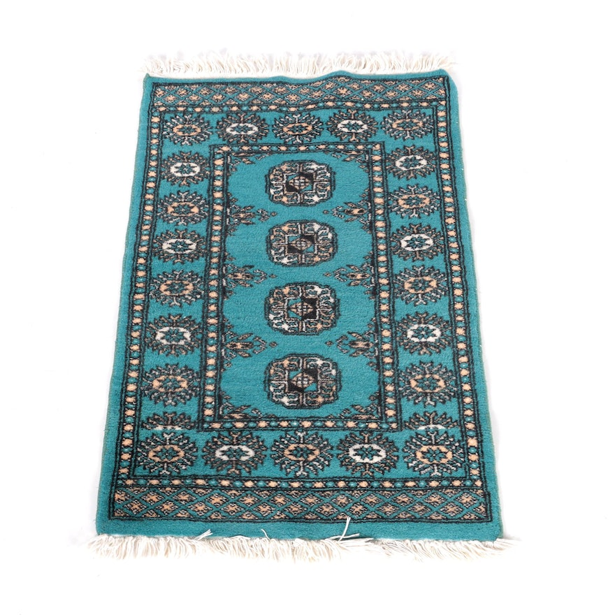 Hand-Knotted Pakistani Bokhara Wool Accent Rug