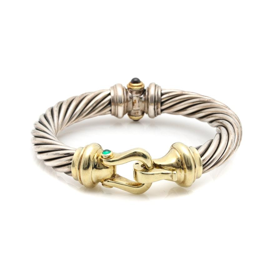 ea086d7f52d David Yurman Sterling Silver and 14K Gold Multi Gemstone Cable Buckle  Bracelet | EBTH