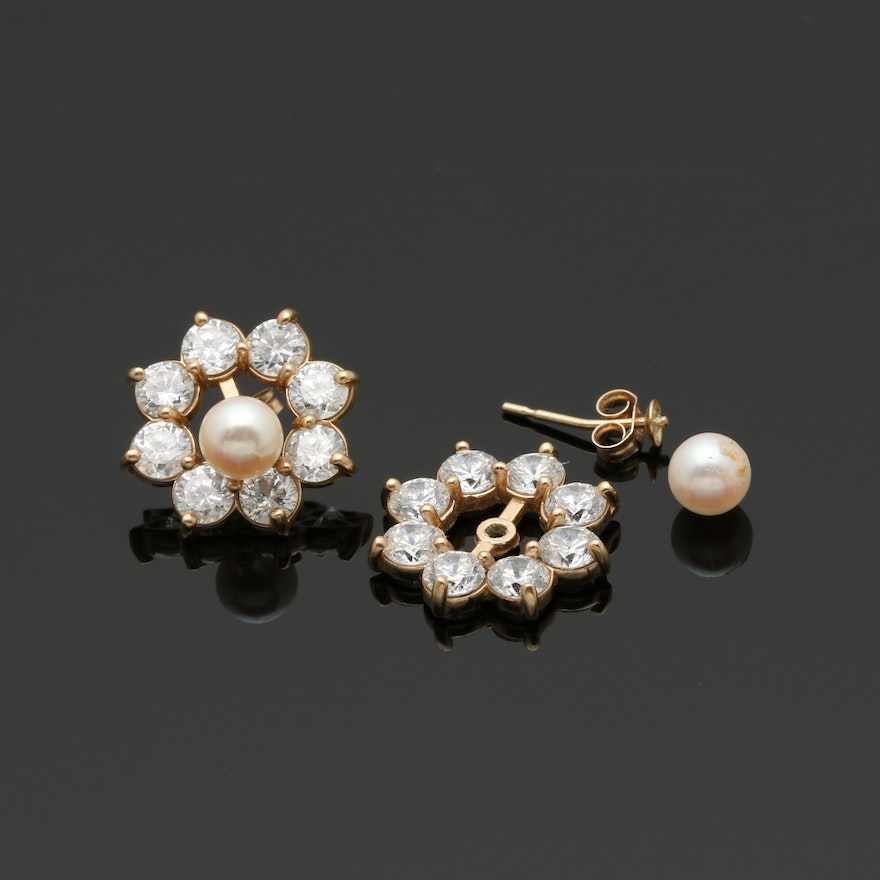 14k Yellow Gold Cultured Pearl Studs And Cubic Zirconia Earring Jackets Ebth