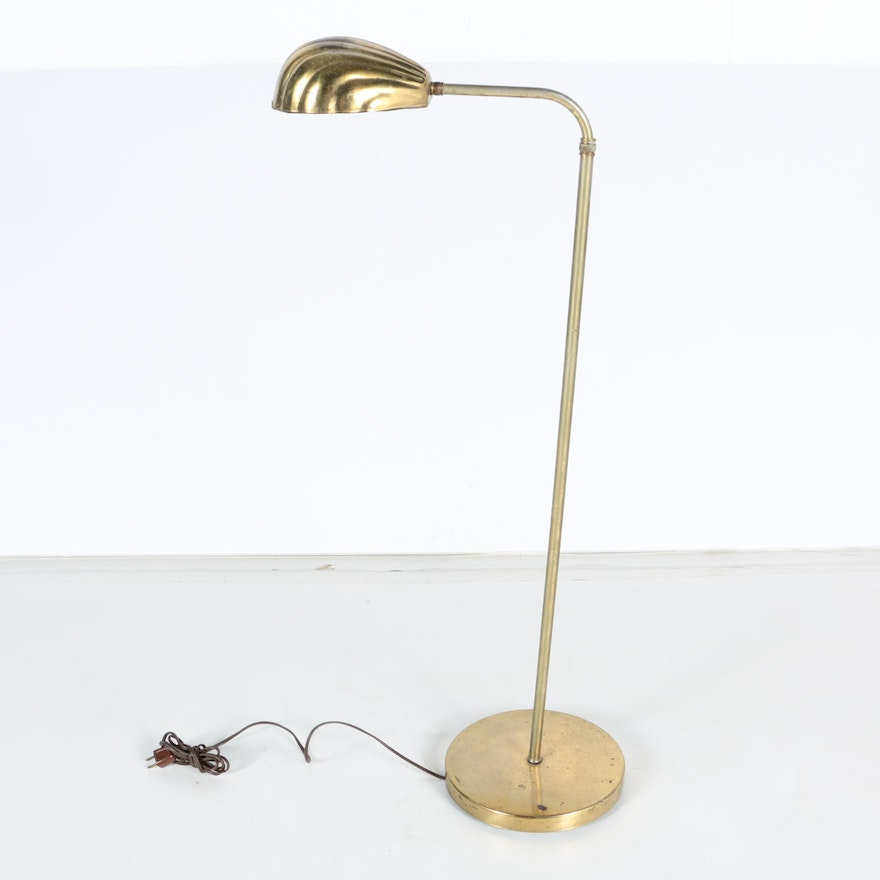 Octavia Floor Lamp Brass: Vintage Brass Pharmacy Clamshell Floor Lamp