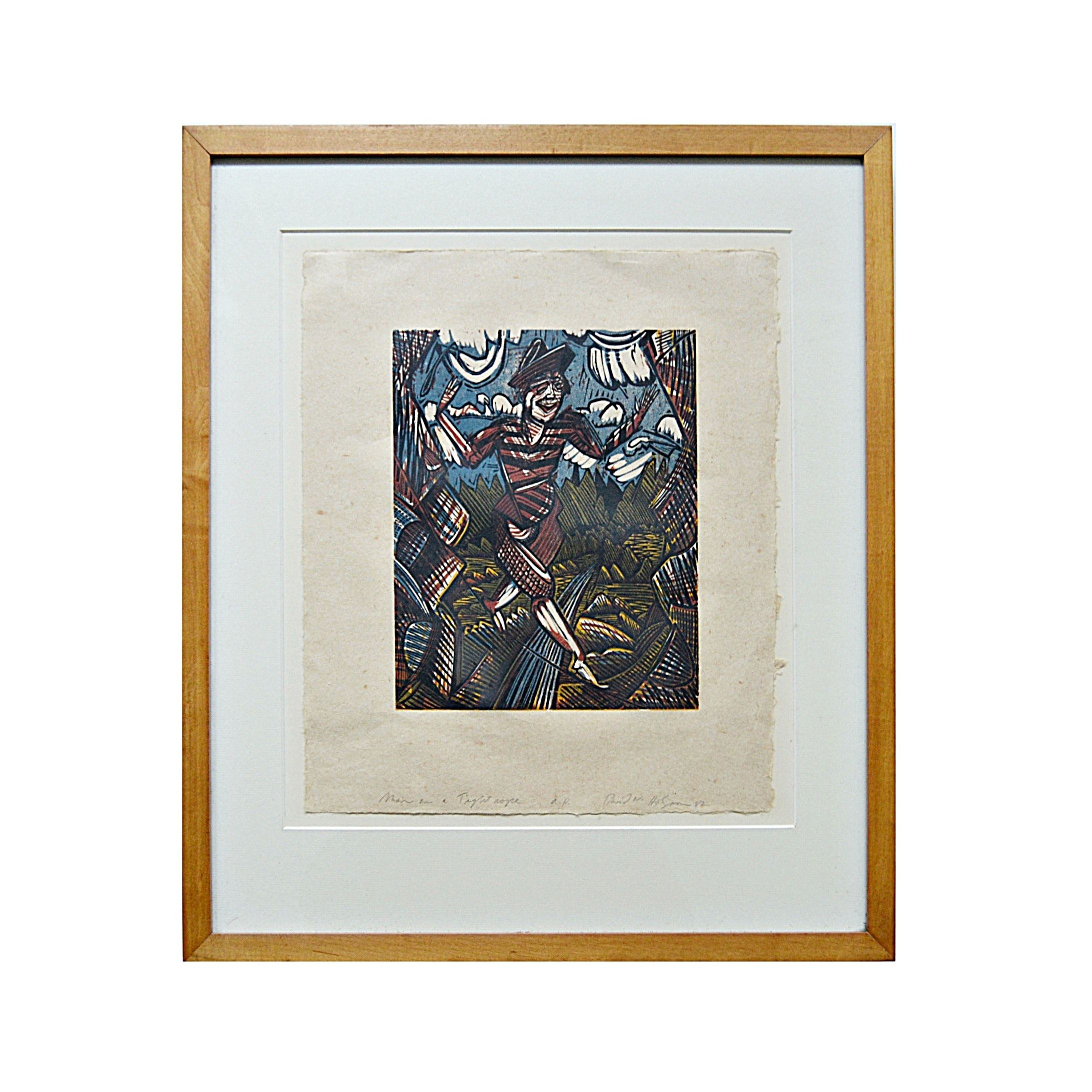"David Holzman Woodblock Print Titled ""Man on a Tightrope"""