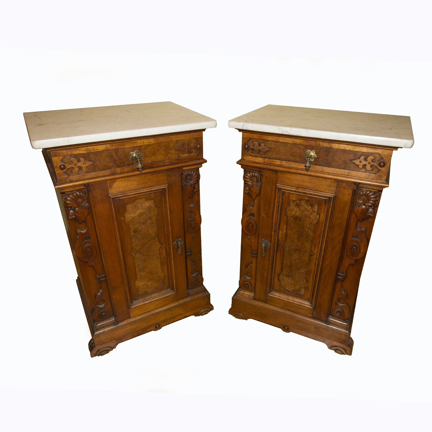Antique English Victorian Walnut and Marble End Tables
