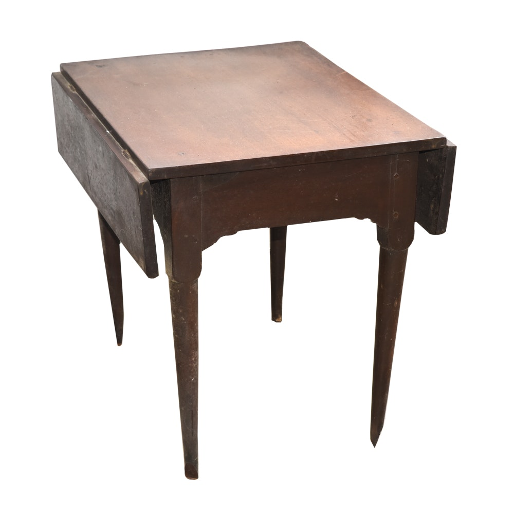 Antique Federal Style Mahogany Drop Leaf Side Table
