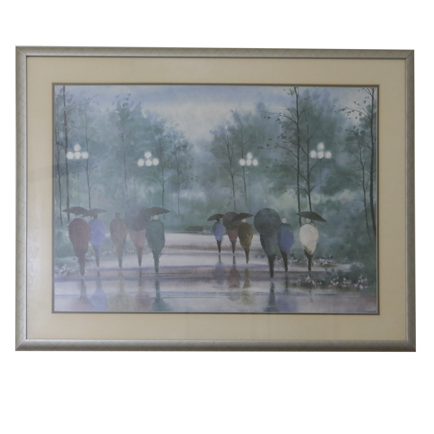 Reproduction Print of Figures in a Park on a Rainy Day