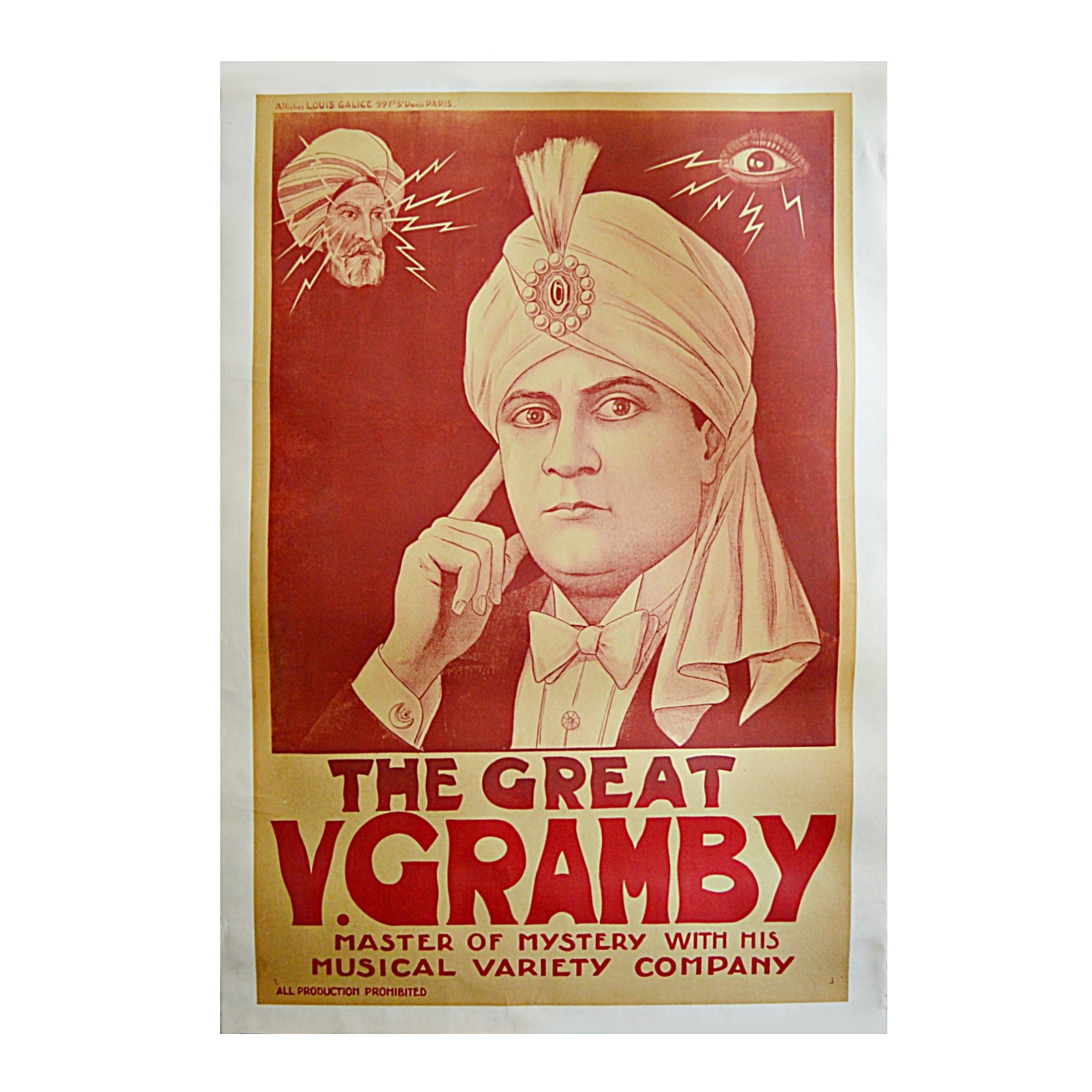 "Early 20th-Century ""The Great V. Gramby"" French Magician Lithographic Poster"