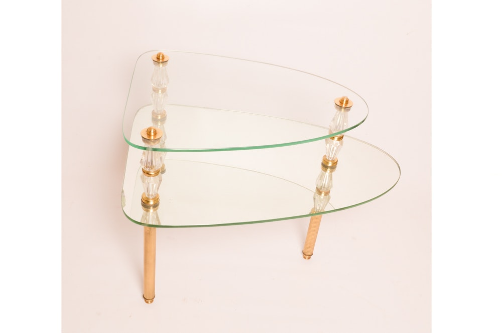 Vintage Glass and Mirror Side Table by Semon Bache & Co.
