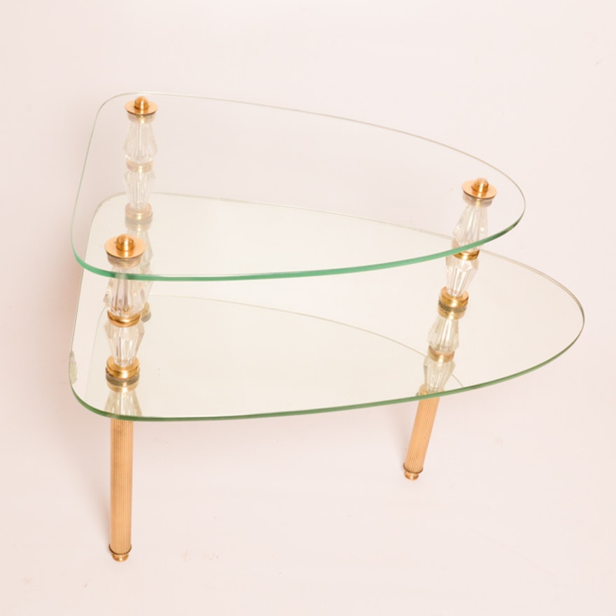 Vintage Gl And Mirror Side Table By Semon Bache