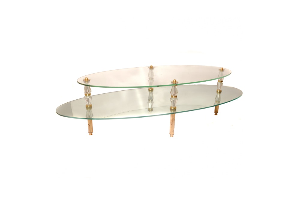 Vintage Glass and Mirror Coffee Table by Semon Bache & Co.