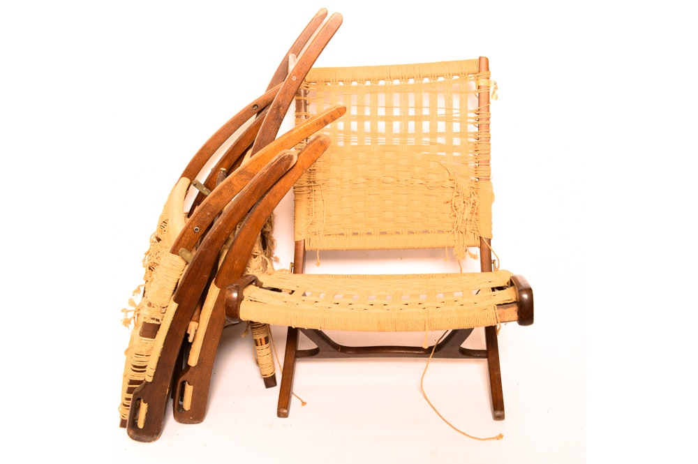 Three Danish Modern Woven Lounge Chairs