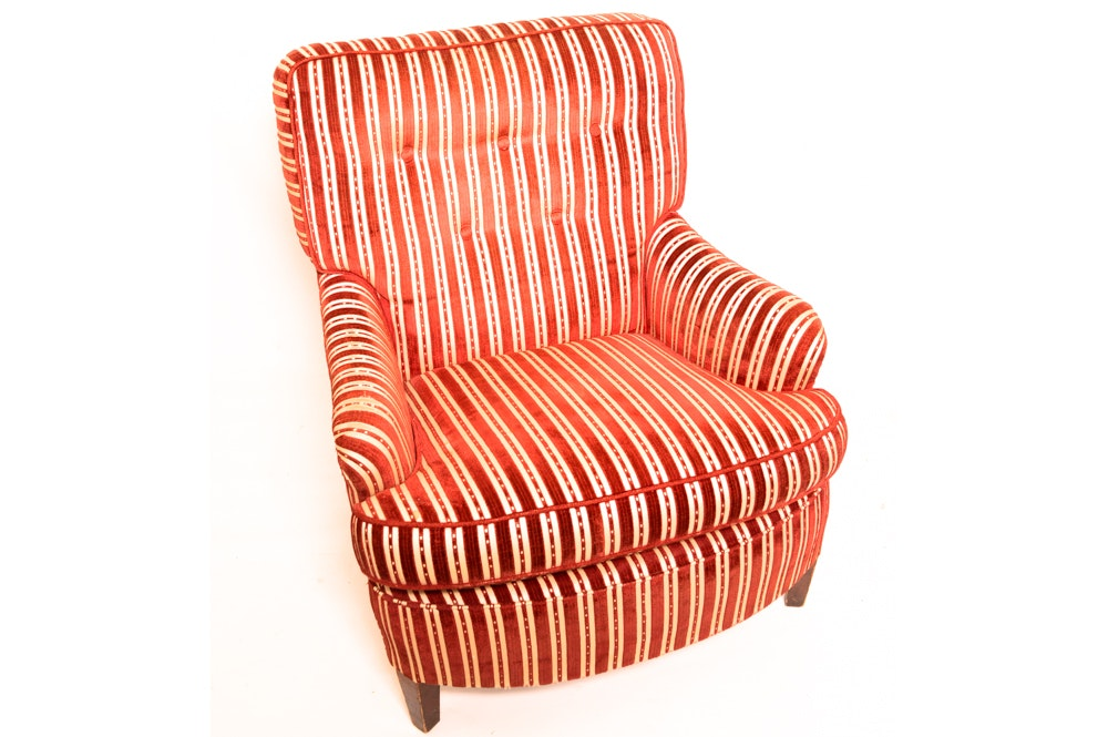Vintage Striped Upholstered Armchair