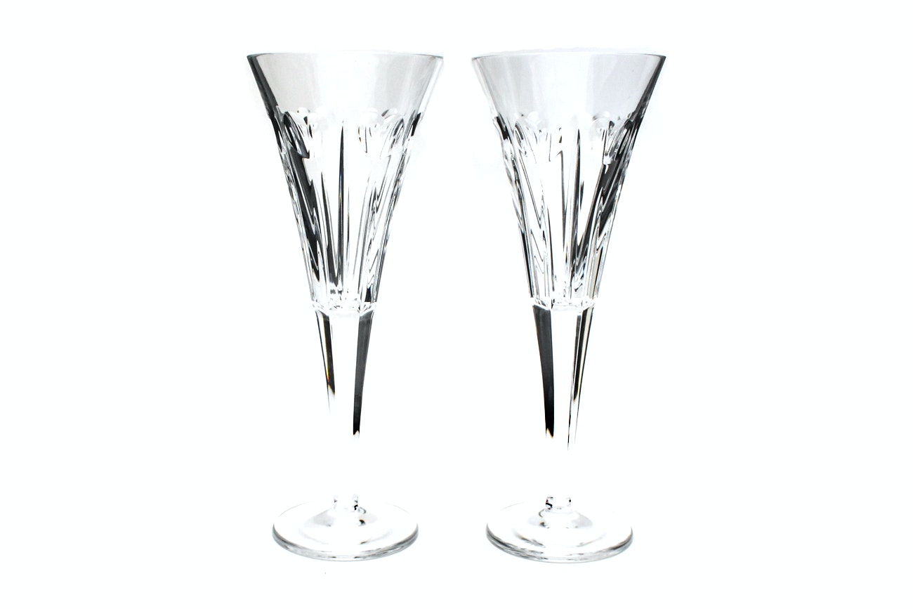 """Waterford Crystal """"Millennium Collection: Love"""" Champagne Toasting Flutes"""