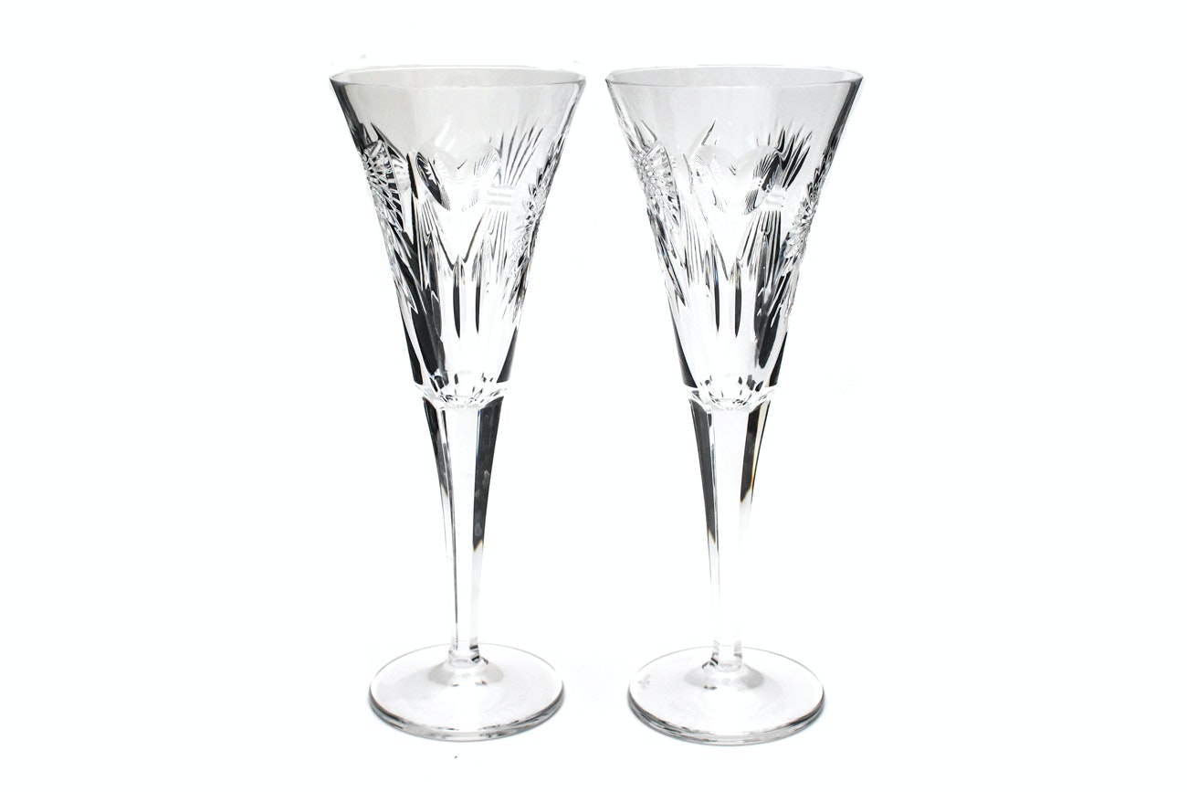 """Waterford Crystal """"Millennium Collection: Five Toasts"""" Champagne Toasting Flutes"""