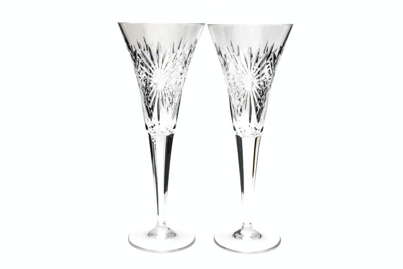 """Waterford Crystal """"Millennium Collection: Health"""" Champagne Toasting Flutes"""