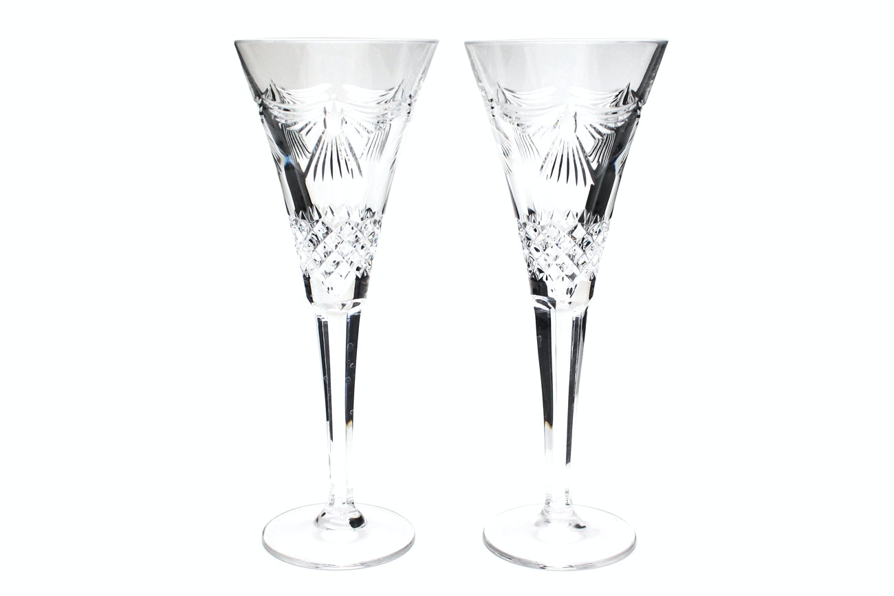 """Waterford Crystal """"Millennium Collection: Peace"""" Champagne Toasting Flutes"""
